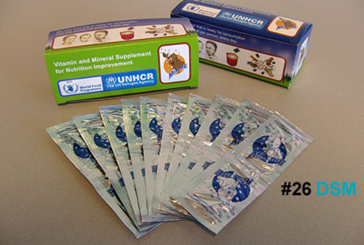<p>Powder to the people! That was the Dutch life- and materials-science company's novel approach in the fight against &quot;hidden hunger,&quot; defined by the United Nations as the lack of essential vitamins and minerals (not food) affecting more than a billion people in developing countries. DSM's answer: a tasteless powder called MixMe that for 2.5 cents a day can be added to fortify staple foods. The packaging, the size of a sugar packet, can withstand extreme transport conditions. Pilot projects in Bangladesh, Nepal, and Kenya have so far benefited 250,000 people. This year, DSM expects to produce 100 million packets.</p>  <p><a href=&quot;http://www.fastcompany.com/fast50_09/profile/list/dsm&quot; target=&quot;_new&quot; title=&quot;DSM&quot;>-- Read the Full Profile</a></p>  <p><strong>The Fast Company 50 Navigation:</strong><br /> <a href=&quot;http://www.fastcompany.com/multimedia/slideshows/content/2009-fast-company-50.html?page=2&quot; title=&quot;Team Obama&quot;>01</a> | <a href=&quot;http://www.fastcompany.com/multimedia/slideshows/content/2009-fast-company-50.html?page=3&quot; title=&quot;Google&quot;>02</a> | <a href=&quot;http://www.fastcompany.com/multimedia/slideshows/content/2009-fast-company-50.html?page=4&quot; title=&quot;Hulu&quot;>03</a> | <a href=&quot;http://www.fastcompany.com/multimedia/slideshows/content/2009-fast-company-50.html?page=5&quot; title=&quot;Apple&quot;>04</a> | <a href=&quot;http://www.fastcompany.com/multimedia/slideshows/content/2009-fast-company-50.html?page=6&quot; title=&quot;Cisco Systems&quot;>05</a> | <a href=&quot;http://www.fastcompany.com/multimedia/slideshows/content/2009-fast-company-50.html?page=7&quot; title=&quot;Intel&quot;>06</a> | <a href=&quot;http://www.fastcompany.com/multimedia/slideshows/content/2009-fast-company-50.html?page=8&quot; title=&quot;Pure Digital Technologies&quot;>07</a> | <a href=&quot;http://www.fastcompany.com/multimedia/slideshows/content/2009-fast-company-50.html?page=9&quot; title=&quot;WuXi PharmaTech&quot;>08</a> | <a href=&quot;http://www.fastcompany.com/multimedia/slideshows/content/2009-fast-company-50.html?page=10&quot; title=&quot;Amazon&quot;>09</a> | <a href=&quot;http://www.fastcompany.com/multimedia/slideshows/content/2009-fast-company-50.html?page=11&quot; title=&quot;Ideo&quot;>10</a> <br /> <a href=&quot;http://www.fastcompany.com/multimedia/slideshows/content/2009-fast-company-50.html?page=12&quot; title=&quot;GE&quot;>11</a> | <a href=&quot;http://www.fastcompany.com/multimedia/slideshows/content/2009-fast-company-50.html?page=13&quot; title=&quot;Hewlett-Packard&quot;>12</a> | <a href=&quot;http://www.fastcompany.com/multimedia/slideshows/content/2009-fast-company-50.html?page=14&quot; title=&quot;Nokia&quot;>13</a> | <a href=&quot;http://www.fastcompany.com/multimedia/slideshows/content/2009-fast-company-50.html?page=15&quot; title=&quot;Gilead Sciences&quot;>14</a> | <a href=&quot;http://www.fastcompany.com/multimedia/slideshows/content/2009-fast-company-50.html?page=16&quot; title=&quot;Facebook&quot;>15</a> | <a href=&quot;http://www.fastcompany.com/multimedia/slideshows/content/2009-fast-company-50.html?page=17&quot; title=&quot;NextEra Energy Resources&quot;>16</a> | <a href=&quot;http://www.fastcompany.com/multimedia/slideshows/content/2009-fast-company-50.html?page=18&quot; title=&quot;Q-Cells&quot;>17</a> | <a href=&quot;http://www.fastcompany.com/multimedia/slideshows/content/2009-fast-company-50.html?page=19&quot; title=&quot;First Solar&quot;>18</a> | <a href=&quot;http://www.fastcompany.com/multimedia/slideshows/content/2009-fast-company-50.html?page=20&quot; title=&quot;IBM&quot;>19</a> | <a href=&quot;http://www.fastcompany.com/multimedia/slideshows/content/2009-fast-company-50.html?page=21&quot; title=&quot;Zappos&quot;>20</a> <br /> <a href=&quot;http://www.fastcompany.com/multimedia/slideshows/content/2009-fast-company-50.html?page=22&quot; title=&quot;Nintendo&quot;>21</a> | <a href=&quot;http://www.fastcompany.com/multimedia/slideshows/content/2009-fast-company-50.html?page=23&quot; title=&quot;Disney&quot;>22</a> | <a href=&quot;http://www.fastcompany.com/multimedia/slideshows/content/2009-fast-company-50.html?page=24&quot; title=&quot;Crispin Porter + Bogusky&quot;>23</a> | <a href=&quot;http://www.fastcompany.com/multimedia/slideshows/content/2009-fast-company-50.html?page=25&quot; title=&quot;TBWA\Worldwide&quot;>24</a> | <a href=&quot;http://www.fastcompany.com/multimedia/slideshows/content/2009-fast-company-50.html?page=26&quot; title=&quot;New England Sports Ventures&quot;>25</a> | <a href=&quot;http://www.fastcompany.com/multimedia/slideshows/content/2009-fast-company-50.html?page=27&quot; title=&quot;DSM&quot;>26</a> | <a href=&quot;http://www.fastcompany.com/multimedia/slideshows/content/2009-fast-company-50.html?page=28&quot; title=&quot;Nike&quot;>27</a> | <a href=&quot;http://www.fastcompany.com/multimedia/slideshows/content/2009-fast-company-50.html?page=29&quot; title=&quot;NPR&quot;>28</a> | <a href=&quot;http://www.fastcompany.com/multimedia/slideshows/content/2009-fast-company-50.html?page=30&quot; title=&quot;Barbarian Group&quot;>29</a> | <a href=&quot;http://www.fastcompany.com/multimedia/slideshows/content/2009-fast-company-50.html?page=31&quot; title=&quot;W.L. Gore & Associates&quot;>30</a> <br /> <a href=&quot;http://www.fastcompany.com/multimedia/slideshows/content/2009-fast-company-50.html?page=32&quot; title=&quot;Busboy Productions&quot;>31</a> | <a href=&quot;http://www.fastcompany.com/multimedia/slideshows/content/2009-fast-company-50.html?page=33&quot; title=&quot;Skidmore, Owings & Merrill&quot;>32</a> | <a href=&quot;http://www.fastcompany.com/multimedia/slideshows/content/2009-fast-company-50.html?page=34&quot; title=&quot;Wal-Mart&quot;>33</a> | <a href=&quot;http://www.fastcompany.com/multimedia/slideshows/content/2009-fast-company-50.html?page=35&quot; title=&quot;Microsoft&quot;>34</a> | <a href=&quot;http://www.fastcompany.com/multimedia/slideshows/content/2009-fast-company-50.html?page=36&quot; title=&quot;Ubisoft&quot;>35</a> | <a href=&quot;http://www.fastcompany.com/multimedia/slideshows/content/2009-fast-company-50.html?page=37&quot; title=&quot;Vestas&quot;>36</a> | <a href=&quot;http://www.fastcompany.com/multimedia/slideshows/content/2009-fast-company-50.html?page=38&quot; title=&quot;Chevron Energy Solutions&quot;>37</a> | <a href=&quot;http://www.fastcompany.com/multimedia/slideshows/content/2009-fast-company-50.html?page=39&quot; title=&quot;CAA&quot;>38</a> | <a href=&quot;http://www.fastcompany.com/multimedia/slideshows/content/2009-fast-company-50.html?page=40&quot; title=&quot;L-3 Communications&quot;>39</a> | <a href=&quot;http://www.fastcompany.com/multimedia/slideshows/content/2009-fast-company-50.html?page=41&quot; title=&quot;Weta Digital&quot;>40</a> <br /> <a href=&quot;http://www.fastcompany.com/multimedia/slideshows/content/2009-fast-company-50.html?page=42&quot; title=&quot;Lego&quot;>41</a> | <a href=&quot;http://www.fastcompany.com/multimedia/slideshows/content/2009-fast-company-50.html?page=43&quot; title=&quot;Emirates&quot;>42</a> | <a href=&quot;http://www.fastcompany.com/multimedia/slideshows/content/2009-fast-company-50.html?page=44&quot; title=&quot;Genzyme&quot;>43</a> | <a href=&quot;http://www.fastcompany.com/multimedia/slideshows/content/2009-fast-company-50.html?page=45 title=&quot;Etsy&quot;>44</a> | <a href=&quot;http://www.fastcompany.com/multimedia/slideshows/content/2009-fast-company-50.html?page=46&quot; title=&quot;BYD&quot;>45</a> | <a href=&quot;http://www.fastcompany.com/multimedia/slideshows/content/2009-fast-company-50.html?page=47&quot; title=&quot;Warner Music Group&quot;>46</a> | <a href=&quot;http://www.fastcompany.com/multimedia/slideshows/content/2009-fast-company-50.html?page=48&quot; title=&quot;Aravind Eye Care System&quot;>47</a> | <a href=&quot;http://www.fastcompany.com/multimedia/slideshows/content/2009-fast-company-50.html?page=49&quot; title=&quot;Toyota&quot;>48</a> | <a href=&quot;http://www.fastcompany.com/multimedia/slideshows/content/2009-fast-company-50.html?page=50&quot; title=&quot;Pelamis Wave Power&quot;>49</a> | <a href=&quot;http://www.fastcompany.com/multimedia/slideshows/content/2009-fast-company-50.html?page=51&quot; title=&quot;Raser Technologies&quot;>50</a></p>