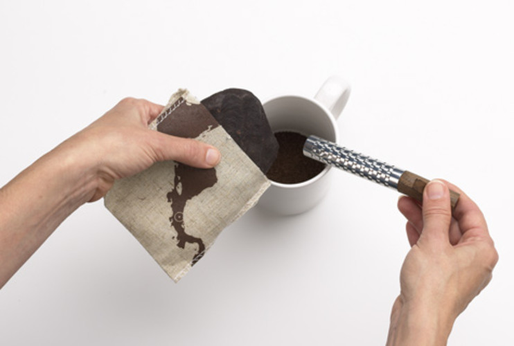 <p> Béhar's final design includes an organic chocolate patty in a jute bag and a shaving tool. Shavings from the patty are poured into a hot cup of milk or water to make a traditional Costa Rican chocolate beverage.  </p>