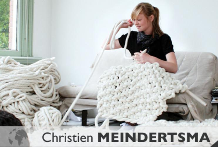 <p> Dutch textile designer Christien Meindertsma knits her commissioned wool rug in her studio.   </p>