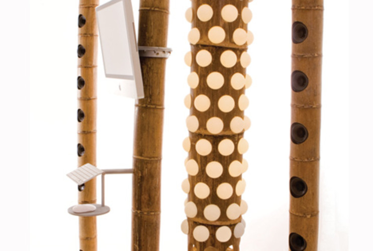 <p> Tarazi's installation of bamboo totems moves the dense landscape of China's bamboo forests indoors, creating a domestic forest that supports a range of living arrangements.  </p>