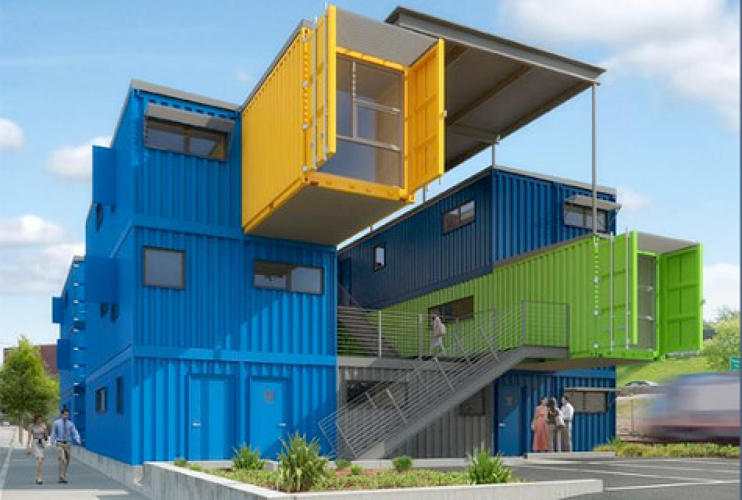 <p>Forget living in a home made of recycled shipping containers, what about working in one? Rhode Island's upcoming Box Office project is a more ambitious attempt at making use of the corrugated steel boxes. Slated to be completed in March 2010, the Box Office will be constructed from 32 shipping containers painted in bright hues. The three-story, 10,000-square-foot building is designed by Peter Gill Case, Principal at Truth Box, Inc. It will feature 12 office and studio units. </p> <p><a href=&quot;http://www.fastcompany.com/blog/ariel-schwartz/sustainability/box-office-building-made-shipping-containers&quot;>Read More</a></p>