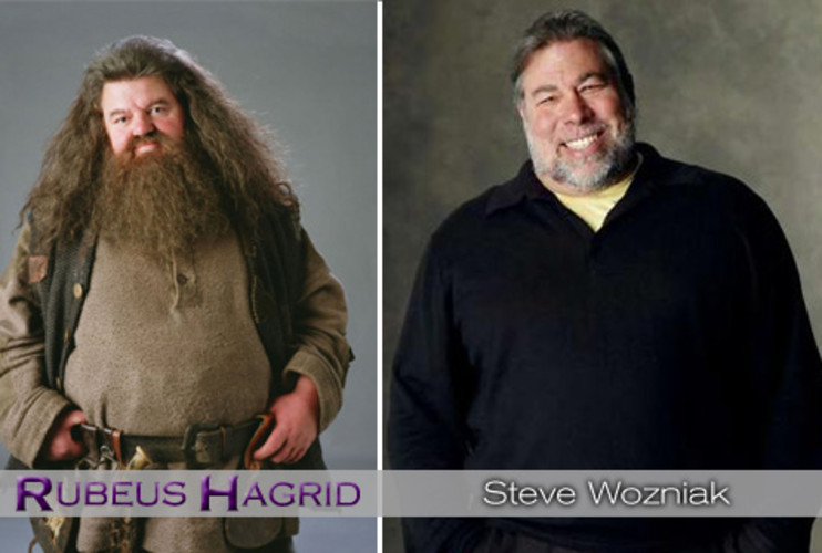 <p>Hagrid is the large, loud, and friendly half-giant that becomes attached to Harry, Ron, and Hermione. He was also a caretaker for Dumbledore, doing odd jobs for the great wizard. <strong><a href=&quot;http://www.fastcompany.com/blog/danielle-sacks/ad-verse-effect/steve-jobs-dancing-stars&quot;>Steve Wozniak</a></strong>, affectionately known as the Woz, is a bear of a man, but he is considered the jolly counterpart to fellow Apple cofounder Steve Jobs's cool managerial style. Bonus connection: His turns on <em>Kathy Griffin: My Life on the D-List</em> and <em>Dancing With the Stars</em> revealed that he's an animal lover as well as a big teddy bear. </p>