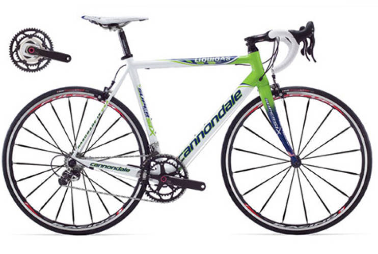 <p>Pellizotti's quick climb was aided by a Cannondale Supersix Hi-MOD. In fact, Cannondale claims that this bike has the lightest and stiffest production system in the world, including an increase in stiffness of 17% and a decrease in weight by 150 grams in comparison to its predecessor, the Supersix. <br /> <em>[via <a href=&quot;http://www.cannondale.com&quot; target=&quot;_new&quot;>Cannondale</a>]</em> </p>