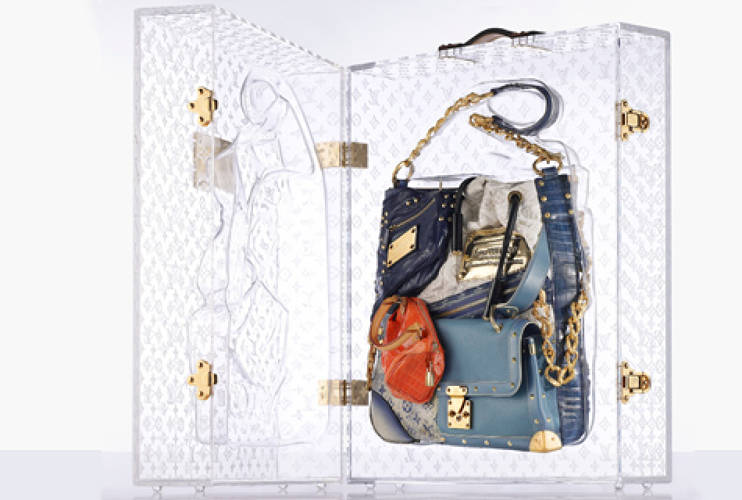 <p>Limited-edition Patchwork Tribute Bag and transparent custom case. S/S 2007. </p>