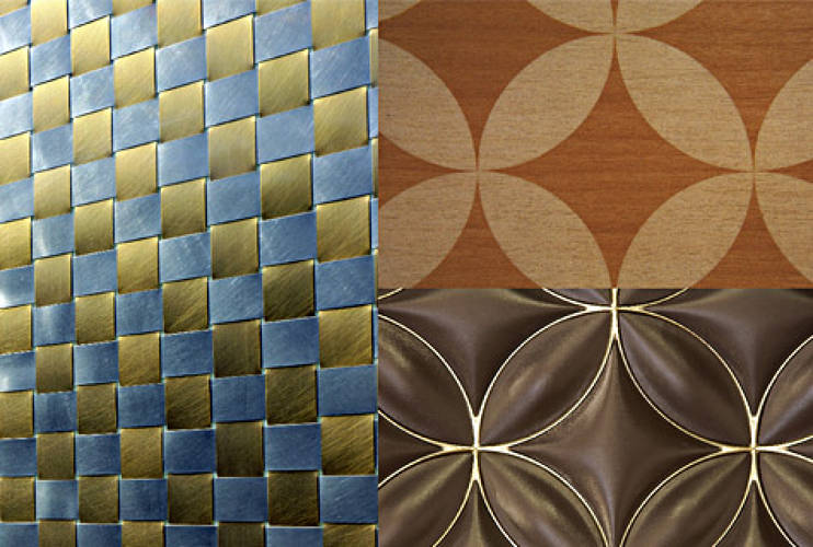 <p>Detail view of the metal Damier pattern on the interior wall of Kobe Kyoryuchi Store (2002) by Barthelemy &amp; Grino; Detail view of the Monogram pattern inlaid in wood on the interior walls of the Louis Vuitton Roppongi Hills (2003), designed by Jun Aoki &amp; Associates, Eric Carlson and Aurelio Clementi; Maison Louis Vuitton, Champ-Elysees (2005): detail of the Monogram screen flanking the main escalator. Interior design by Eric Carlson &amp; Peter Marino. </p>