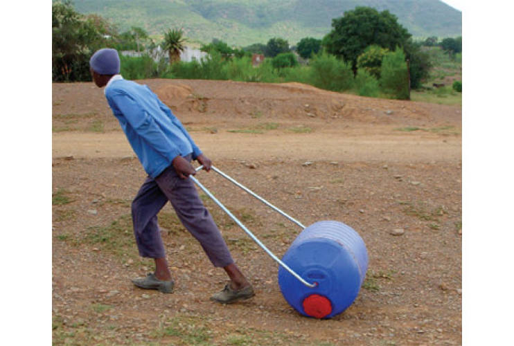 <p><a href=&quot;http://www.hipporoller.org&quot;>The Hippo Water Roller</a>, designed in 1991 by South Africans Johan Jonker and Pettie Petzer, provides a safe and efficient alternative to the traditional African practice of carrying water on one's head, which can result in serious cranial and spinal injuries. The rotationally molded, UV-sterilized, polyethylene barrel holds approximately 24 gallons of water, compared to the 2.5- to 5-gallon capacity of traditional methods. One trip with the Hippo Roller transports enough water for a family of five to seven for up to one week. Beyond the Hippo roller\'s immediate function and efficiency, its implementation has resulted in quantifiable, tangible social impact in part of South Africa. In communities that use the Hippo Roller, men have begun to view fetching water as a more masculine, worthwhile chore, and education and literacy rates for women and children have improved. <strong>Price:</strong>$90</p>