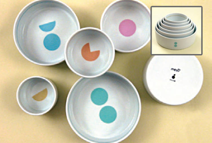 <p><a href=&quot;http://www.jenniferpanepinto.com&quot;>Mesu</a>, a set of six porcelain nesting bowls designed by Jennifer Panepinto, is a graceful tool for those trying to eat healthfully. The bowls range in size from .5 cup to 2 cups and measure portions with fill lines and colorful graphic systems that allow users to know exactly how much they are consuming. The bowls have been utilized by diabetics, parents concerned with their children's weight, and generally health-conscious eaters. <strong>Price:</strong>$49.95 per set</p>
