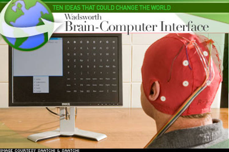 <p> The Wadsworth Brain-Computer Interface enables paralyzed people to communicate and control their environment by using brain signals alone. The user wears an electrode cap and the device detects the brain waves generated when the user, watching a computer screen, sees a desired item. The Wadsworth BCI selects this item, which simulates striking a key on a keyboard. Outputs include word-processing, speech, email, environmental control and movements of robotic devices. </p>