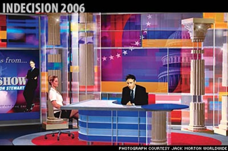 <p>For the midterm elections, <em>The Daily Show</em> will move to swing-state territory, an Ohio set done in &quot;deeply original red, white, and blue,&quot; says executive producer Ben Karlin. Of the visual metaphors in place for the broadcast, he asks: &quot;Are you familiar with Caligula and the fall of Rome?&quot; </p>