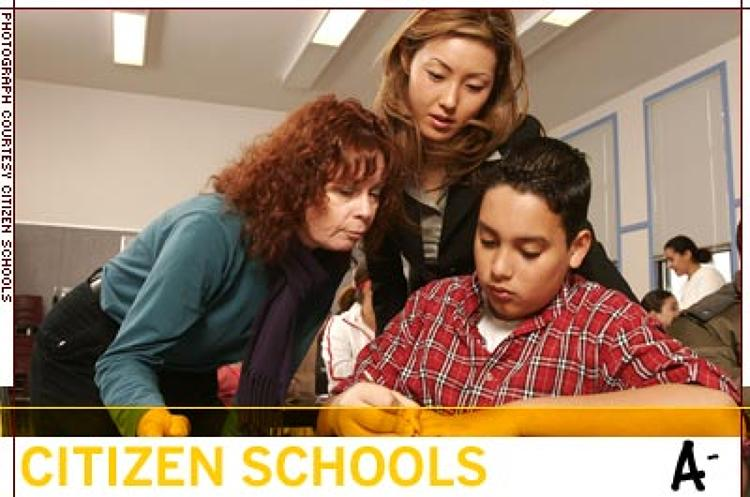 <p>Citizen Schools serves 3,000 students in 15 cities. In a longitudinal study, 72% of its eight graders enrolled in college-track high schools, more than double the norm.</p>