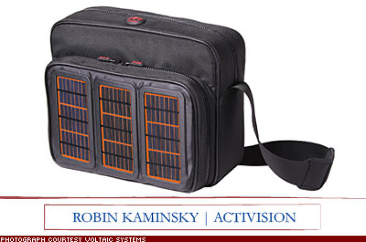 <p>&quot;I need a bag for my laptop and other tech gadgets to charge them without a plug. The Voltaic Solar Bag comes wired with three solar panels.&quot; $229; <a href=&quot;http://www.voltaicsystems.com/&quot; target=&quot;_blank&quot;>voltaicsystems.com</a></p>