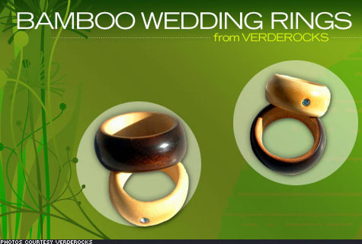 If you really want your wedding to be perfect, then say, &quot;I do,&quot; with a clear conscience. Give your wife an eco-friendly wedding ring, custom-made from select cuts of black bamboo and embedded with a vintage Swarovski crystal. Cured with fire and polished using bee's wax, the rings are completely sustainable, with no chemicals or additives. <a href=&quot;http://www.gwen-davis.com/verde/index.php&quot;>VerdeRocks</a> makes them in two shades -- a natural cream or a rich caramel. If you really want to go all out, there's a green version of the ring made from freshly cut bamboo, which captures the life of the plant while the green remains in its cell structure. Over time, the ring fades to resemble the natural cream.