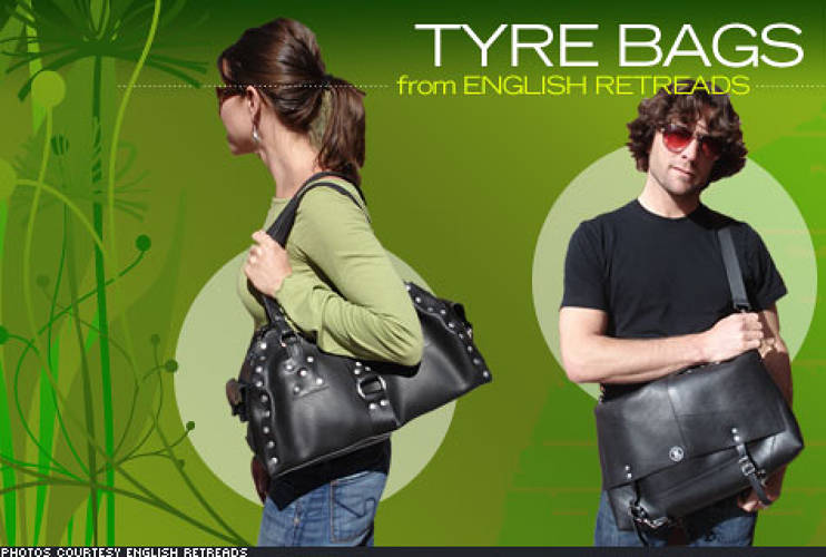 <p> Ever thought you'd wear a piece of a truck? <a href=&quot;http://www.englishretreads.com/&quot;>English Retreads</a> sources used inner tubes from truck tires in the Boulder area and employs local cottage industry sewers and assemblers to create fashionable, yet sturdy bags. Dog collars, key rings, belts and other products are also available, with metal findings sourced from US manufacturers, and lined items created from 100 percent PET fabric made with post-consumer recycled plastic. </p>   <p> Prices range from $65 to $209. </p>
