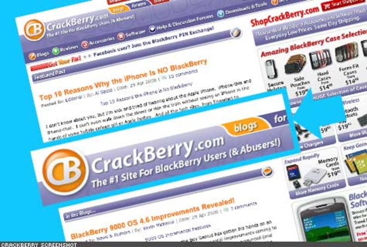 <p> Got a Blackberry addiction you just can't shake? This destination for Blackberry addicts features tutorials, reviews, discussions, blogs, and a store. Blackberry users who sign-up, can blog, post in the forum, and download ringtones and wallpapers for RIM's wonder-device.<br /> <a href=&quot;http://www.crackberry.com/&quot; target=&quot;_new&quot; title=&quot;CrackBerry&quot;>http://www.crackberry.com/</a>  </p>