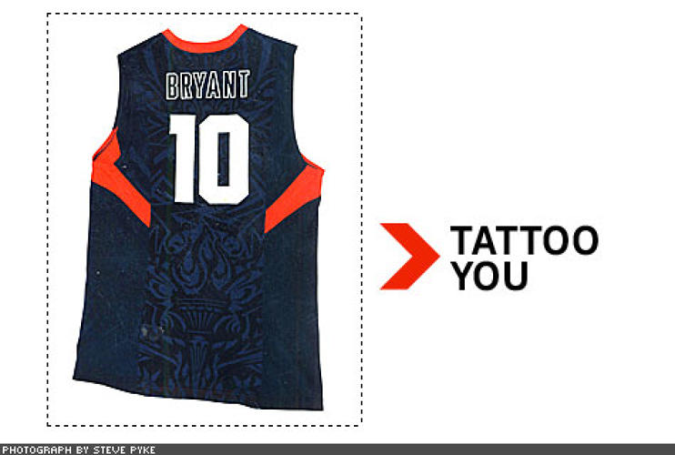 "<p> Nike is supplying USA BASKETBALL'S TEAM JERSEYS, which employ a new moisture-and heat-venting technique called Aerographics to promote airflow over the skin. Using a silk-screen-like process, Nike chemically ""etches,"" or dissolves, key ""zones"" of fabric. The result: culturally specific graphics, created by tattoo artists (note the liberty torch at the jersey's base), which are also vents for air and sweat.  </p>"