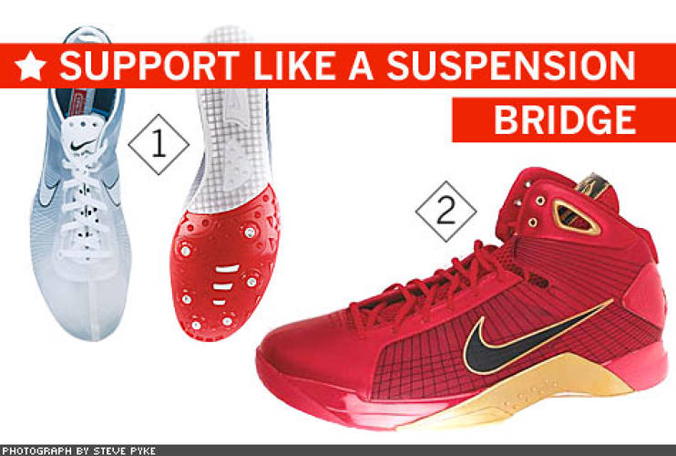 <p> Down to the Wire Shoe designers craft their work around an idea, not a foot. Nike's big brainstorm, Flywire, replaces all of a shoe's heavy structural materials with support threads that resemble the steel cables on a suspension bridge. But the Vectran filaments may also soon help replace Nike factories in China. The see- through shoe is reportedly so inexpensive to make that Nike may move some manufacturing back to the United States. The Flywire-based ZOOM VICTORY (1) middle-distance spike weighs only 93 grams, or 3.28 ounces. The HYPERDUNK (2) will help Chinese star Yi Jianlian get an even bigger vertical edge. NBA MVP Kobe Bryant will have his own version of the shoe.  </p>