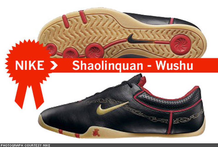 "<p> For the Shaolinquan – Mandarin for ""Martial Arts"" – Nike consulted with wushu masters and martial artists the world over to perfect the stylish and practical design. Weighing in at only 4.75 oz., the Shaolinquan is made with kangaroo leather and has the Chinese characters for ""Hero Inside – Release It"" stitched into the heel.  </p>"