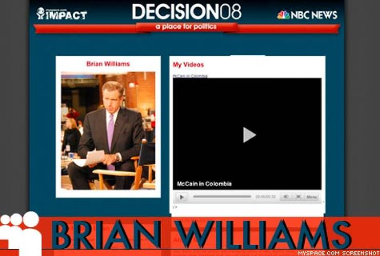 <p> <a href=&quot;http://www.myspace.com/decision08&quot; title=&quot;Decision '08&quot;>Decision '08</a>, an exceptional site devoted to all things electoral, is a mashup of user generated content, contests, newsfeeds, voter registration drives and clips from NBC news coverage. All the MSNBC anchors have profiles on the site; <a href=&quot;http://www.myspace.com/nbcbrianwilliams&quot; target=&quot;_new&quot; title=&quot;NBC Brian Williams&quot;>Brian Williams</a> is the people's choice with 2254 friends, edging out <a href=&quot;http://www.myspace.com/nbcchrismatthews&quot; target=&quot;_new&quot; title=&quot;NBC Chris Matthews&quot;>Chris Matthews</a> with 2073 and <a href=&quot;http://www.myspace.com/nbcjoescarborough&quot; target=&quot;_new&quot; title=&quot;NBC Joe Scarborough&quot;>Joe Scarborough</a> at 1492.  </p>