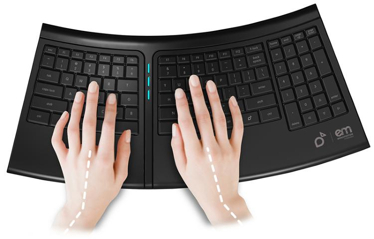 Developed by Smartfish in collaboration with the Hospital for Special Surgery (HSS) in New York, the Engage™ Keyboard is smart enough to monitor your typing frequency and change its own position periodically to minimize the risks of Repetitive Stress Injury (RSI). This caring keyboard figures out when you need a little correction in posture and re-adjusts itself discreetly to change your wrist and hand positions as you type.