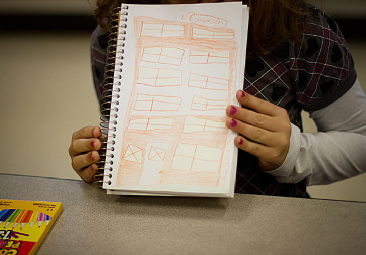 An Emerson Elementary third grader sketched her school before the disaster.