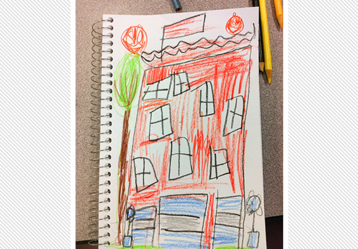 An Irving Elementary second grader sketched Irving just as he remembered it.