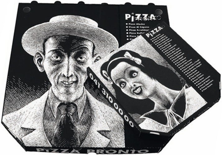 Pizza boxes, designed by Atelier Typoundso and illustrated by Thomas Ott.