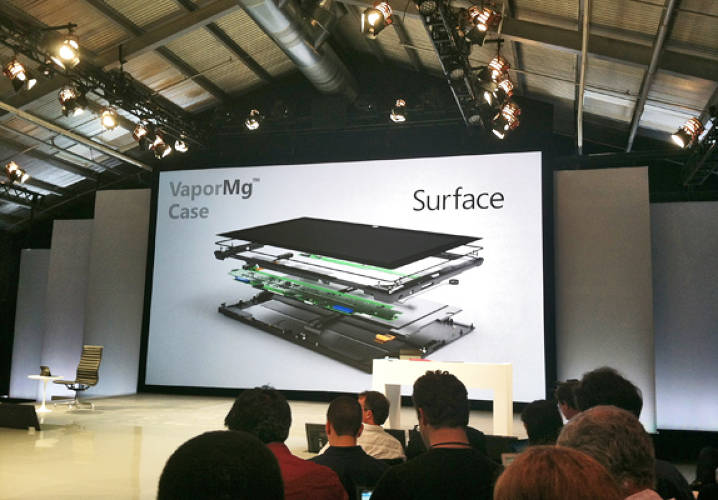 <p>Surface's body is made through a process called VaporMg.</p><p>  Microsoft has shunned the trend toward making mobile devices like this out of pure aluminum, and has opted for magnesium alloy instead. This metal, symbol Mg, may be something you remember from your high school chemistry lessons for being the reactive one that fizzes spectacularly brightly when you burn it.</p><p>  But when you mold it, machine it and subject it to vapor deposition (see where Microsoft was going with its name?) to toughen up its exterior, you end up with a material that's very stiff and strong for its light weight. That means you can make it into very sturdy but very thin shapes, with high precision and detail.</p><p>  This is why MS could give the Surface its thin kickstand, which is strong yet light, and over which Microsoft devoted much effort to get it to feel and sound right.</p>