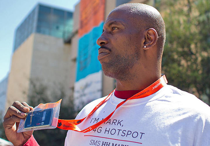 Homeless people wearing T shirts reading &quot;I am a 4G hotspot&quot; are offering SXSW attendees network access in exchange for a donation. Is this awful or innovative? </br></br> <a href=&quot;http://www.fastcocreate.com/1680124/homeless-hotspots-controversy-at-4g-speeds&quot;>read more here</a>