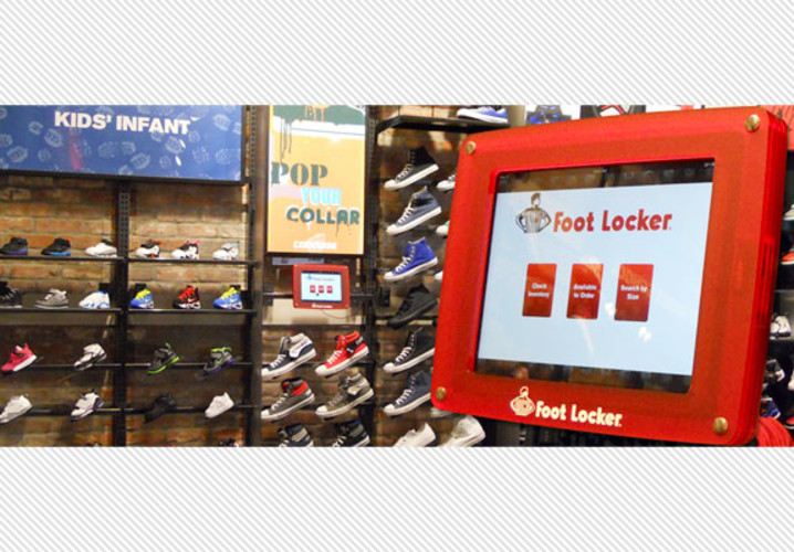 Foot Locker contacted Armor to custom design kiosks that would both secure the iPad in their store and maintain the footwear company's distinct look and feel.