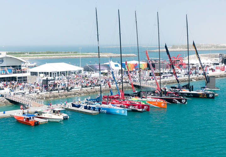The fleet of Volvo Open 70's ready for the start of the Etihad Airways In-Port Race in Abu Dhabi during the Volvo Ocean Race 2011-12