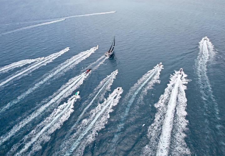 Leaders PUMA Ocean Racing powered by BERG, skippered by Ken Read from the USA, are followed in by media and spectator RIB's as they close down on the finish line of leg 6 from Itajai, Brazil, to Miami, USA, during the Volvo Ocean Race 2011-12