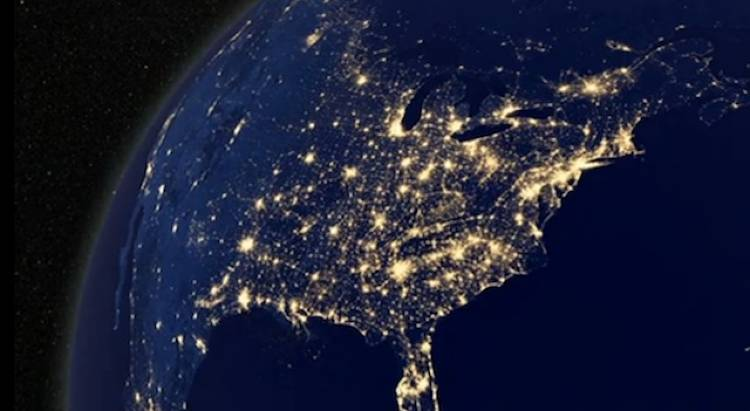 <p>Can you see your house from here? The lights of North America are among the most dense and the most wide-spread on the planet. Amazing, but the sky-glow may come at the expense of your view of the stars.</p>