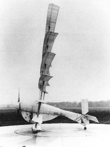 <p>Made in 1923 by Dr W. Frederick Gerhardt, head of Aeronautical Engineering at the University of Michigan, the Gerhardt Cycleplane ranks as one of the strangest of all human powered aircraft ever to achieve real flight. It had seven lightweight wings stacked on top of each other.</p>  <p>It's also possibly the earliest. Originally towed into the air behind a car, it made its first flight in July 1923 at McCook Field, Dayton, Ohio, with Gerhardt able to keep it in the air under his own power for short intervals. Once he managed to fly it into the air himself--for just 20 feet of flight.</p>