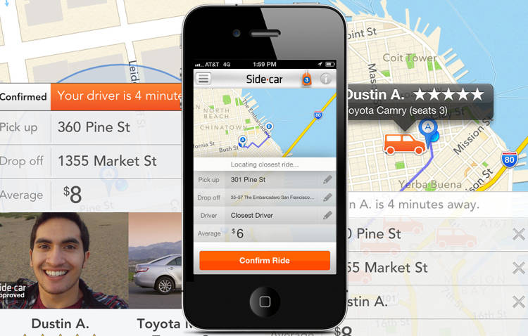 <p>Similar to Lyft, SideCar lets you grab a ride from a nearby private car driver using its smartphone app.</p>