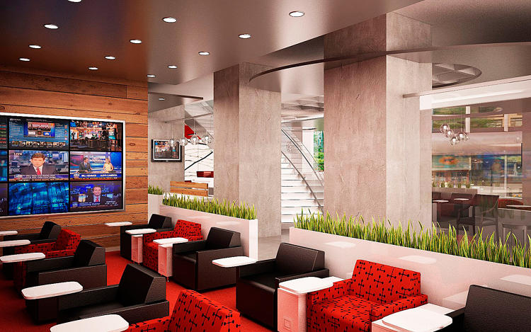 <p>Regus's new street-level business lounge, set to open at 747 3rd Avenue in New York in April.</p>