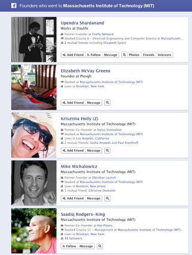"<p>Example Search: ""Founders who went to MIT""</p>  <p>Who Else Is Doing This With Facebook's Data: <a href=&quot;http://branchout.com/&quot; target=&quot;_blank&quot;>BranchOut</a></p>"