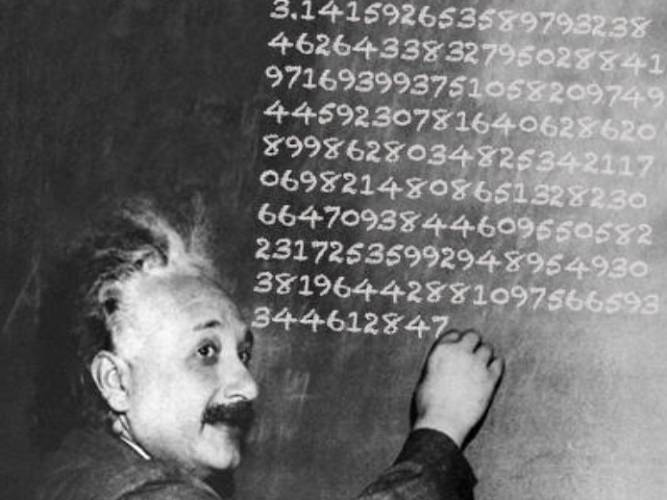 <p>The Twitter feed of the World Science Festival used a photoshopped picture of Einstein to remind us that March 14th is also his birthday date. One of science's greatest minds, one of the universe's most mysterious numbers, and a demonstration of the amazing power of modern tech (which relies on pi at its very design core) in one image.</p>