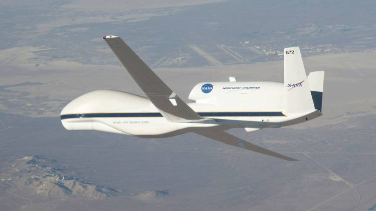 <p>NASA's Global Hawk 872 drone, built in Oklahoma, conducts aerial missions to investigative climate change through tracking stratosphere gases.</p>