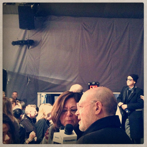 <p>Mickey Drexler, chairman and CEO of J. Crew, being interviewed at the J. Crew fashion show debuting their Fall 2013 collection during New York Fashion week on February 11th, 2013.</p>