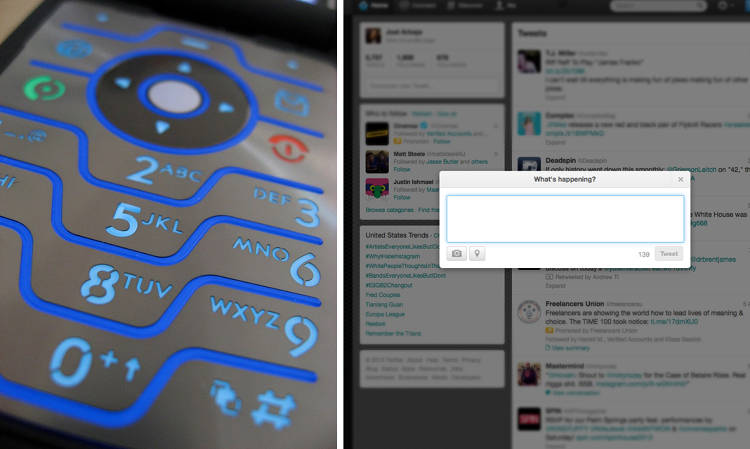 <p>T9 Messaging had character limitation; so do Tweets.</p>