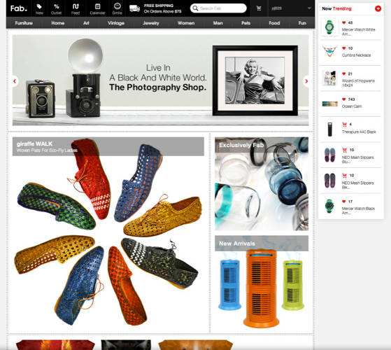 <p>Fab redesigned its web and mobile apps to include new features such as a feature billboard that constantly rotates out products based on your personal purchase and like history, and a &quot;trending&quot; ticker that reflects what's popular right now.</p>