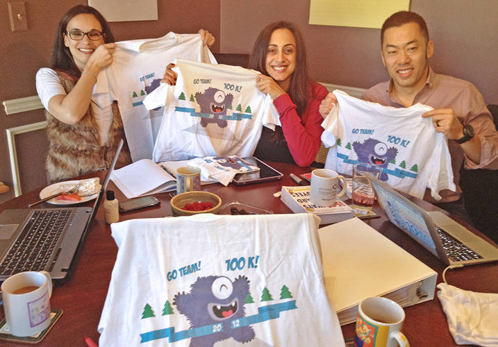 <p><strong>More Cowbell?</strong><br /> To mark a goal met, DHW created shirts with little monsters running toward the 100K finish line. An example of support, reward, and encouragement.</p>