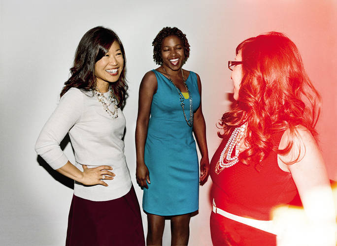 <p>From left, TaskRabbit's chief revenue officer, Anne Raimondi; COO, Stacy Brown-Philpot; and Busque</p>