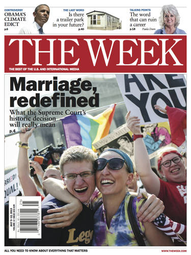<p><em>The Week</em> magazine used a photo of ecstatic gay marriage supporters for its new cover. The publication uses photography only on rare, important occasions when a cartoon doesn't do justice to the news.</p>