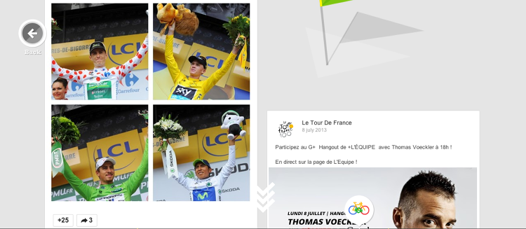 <p>Google's site uses official Tour de France photos--you can see the four leaders--Chris Froome, Nairo Quintana, Pierre Rolland and Peter Sagan--here at the close of the first week's riding.</p>