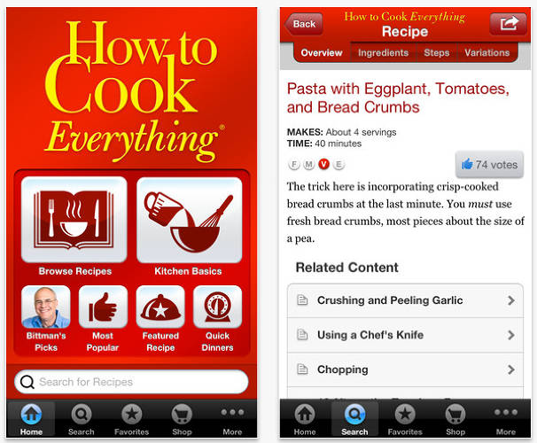 <p>The mobile app version of <em>New York Times</em> columnist Mark Bittman's <em>How To Cook Everything</em> cookbook includes 2,000 recipes, hundreds of illustrations, and advice on techniques, equipment, meal-planning, and more.</p>  <p>[<em>Image courtesy of <a href=&quot;http://www.howtocookeverything.com&quot; target=&quot;_blank&quot;>How To Cook Everything</a></em>]</p>