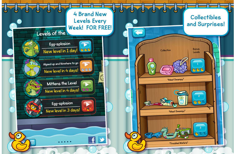 <p><em>Where's My Water?</em> players bring water to Swampy the Alligator's broken shower by getting through levels of physics-based puzzles.</p>  <p>[<em>Image courtesy of <a href=&quot;http://games.disney.com/images/wheres-my-water-screenshots-2-4db200209ce334549fe61c9d?list=4db2028b2b1fc9d395c37f6d&quot; target=&quot;_blank&quot;>Disney</a></em>]</p>