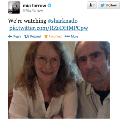 <p>Mia Farrow and Philip Roth didn't actually watch <em>Sharknado</em> together (this photo was taken at a party and the tweet has since been deleted), but Mia, apparently, was into it.</p>