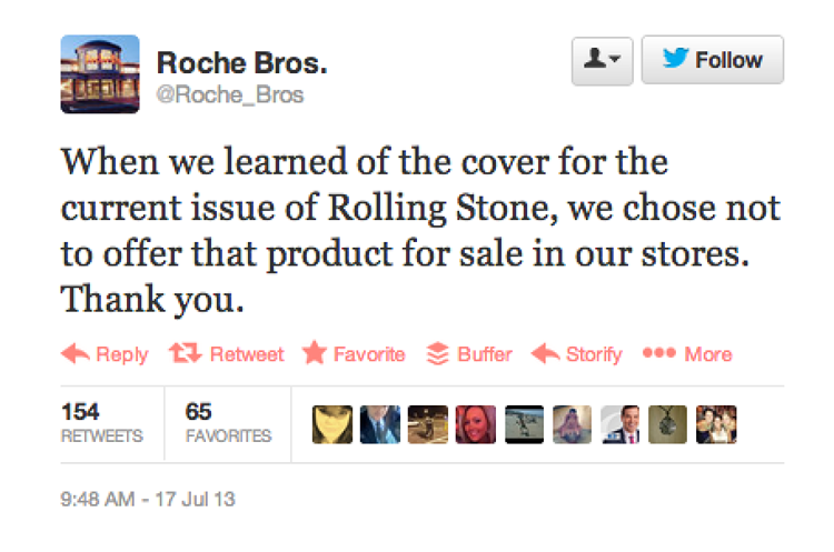 <p>Roche Bros. supermarkets also refuse to sell the magazine.</p>