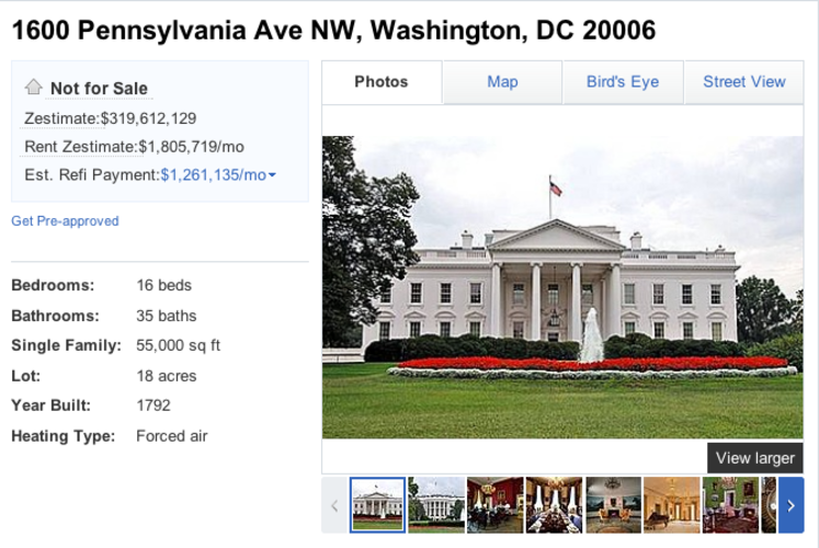 <p>A new Zillow listing for 1600 Pennsylvania Avenue commemorates President Obama's upcoming virtual roundtable on the real estate database's website.</p>